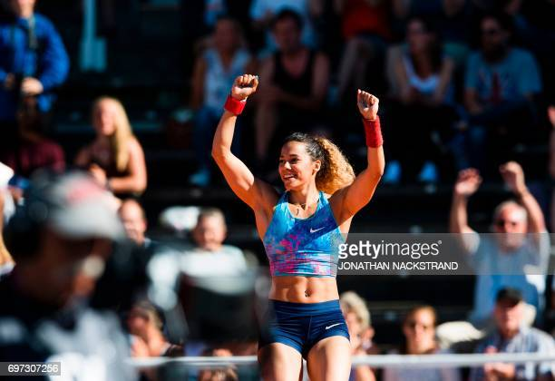 Sweden's Angelica Bengtsson reacts as she clears the bar at the Pole Vault Women event during the IAAF Diamond League athletics competition in...
