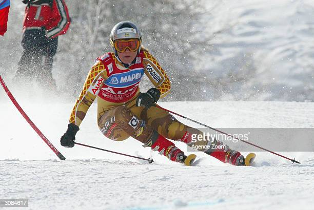 Sweden's Anja Paerson in action during the women's giant slalom at the FIS World Cup on March 14, 2004 in Sestrieres, Italy. Anja won the final...