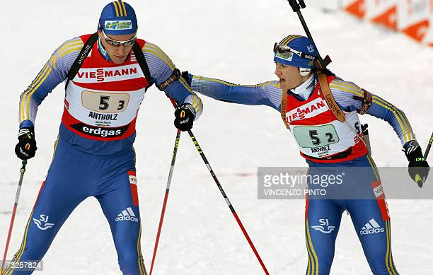 Sweden's Anna Carin Olofsson sends off teammate Bjorn Ferry during the mixed 2 x 6 2 x 75 km relay of the Biathlon World Championship in Anterselva...