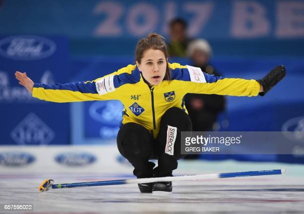 Sweden's Anna Hasselborg reacts during their playoff against Scotland at the Women's Curling World Championships in Beijing on March 25 2017 / AFP...