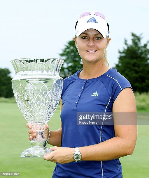 Sweden's Anna Nordqvist poses with the winner's trophy after winning the ShopRite LPGA Classic at Stockton Seaview Golf Club in Galloway New Jersey...