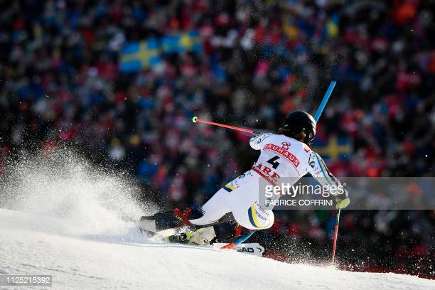 Sweden's Anna Swenn Larsson competes in the second run of the women's slalom event at the 2019 FIS Alpine Ski World Championships at the National...