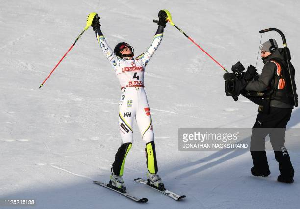 Sweden's Anna Swenn Larsson reacts after the second run of the women's slalom event at the 2019 FIS Alpine Ski World Championships at the National...