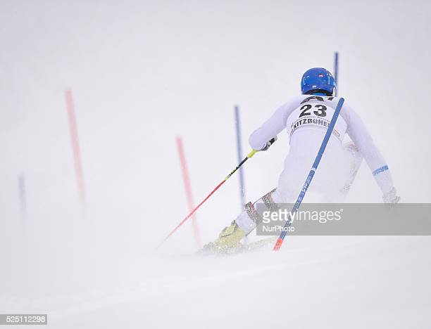 Sweden's Anton Lahdenperae races down the course during the men's Slalom on the third day of the famous Hahnenkamm at the FIS SKI World Cup in...