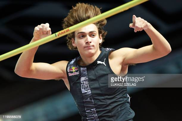 Sweden's Armand Duplantis clears the bar to set a world pole vault record of 6.17 metres at the Orlen Copernicus Cup 2020 World Athletics Indoor...
