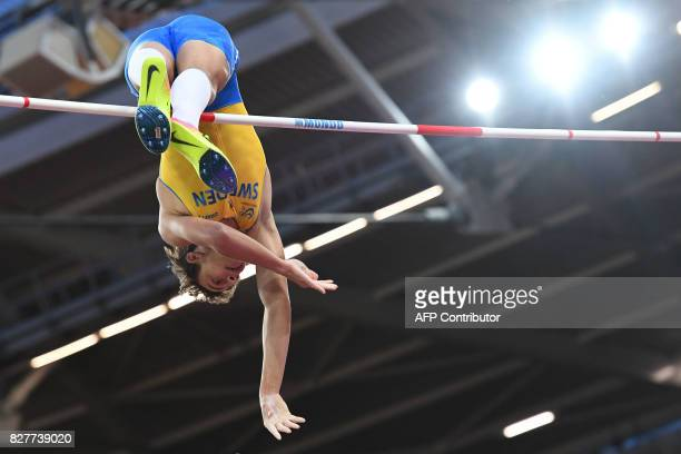 Sweden's Armand Duplantis competes in the final of the men's pole vault athletics event at the 2017 IAAF World Championships at the London Stadium in...