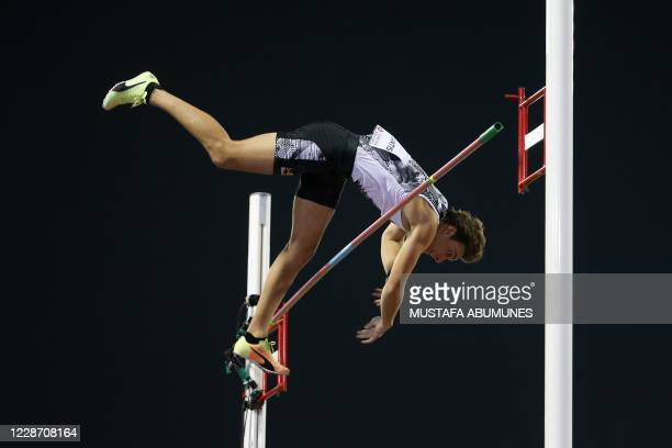 Sweden's Armand Duplantis competes in the Men's pole vault during the IAAF Diamond League competition on September 25, 2020 at the Suheim Bin Hamad...