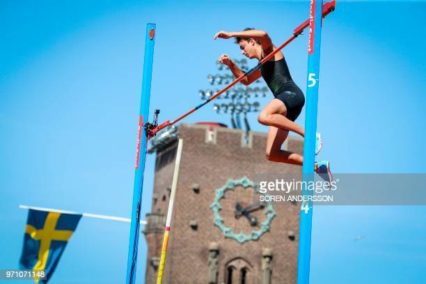 Sweden's Armand Duplantis competes in the men's pole vault event at the IAAF Diamond League 2018 meeting at Stockholm Olympic Stadium in Stockholm...