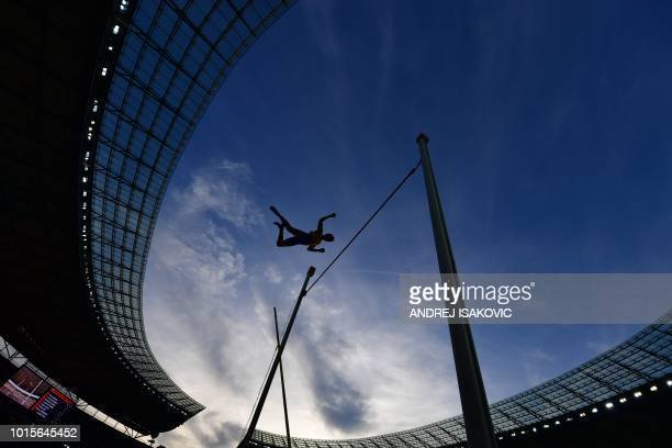 Sweden's Armand Duplantis competes in the men's Pole Vault final during the European Athletics Championships at the Olympic stadium in Berlin on...