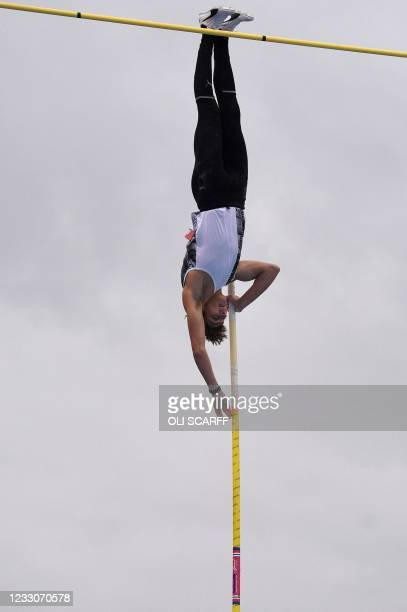 Sweden's Armand Duplantis competes in the men's pole vault final during the Diamond League athletics meeting at Gateshead International Stadium in...