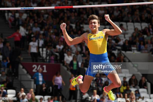 Sweden's Armand Duplantis reacts during the qualifying round of the men's pole vault athletics event at the 2017 IAAF World Championships at the...