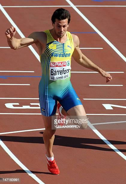 Sweden's Bjorn Barrefors wins the men's decathlon 100m heat 1 of the 2012 European Athletics Championships at the Olympic Stadium in Helsinki on June...