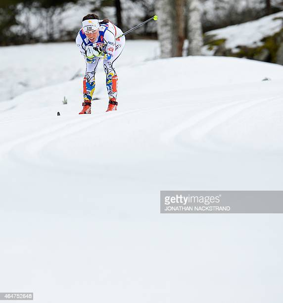 Sweden's Charlotte Kalla competes during the women's cross country 30 km mass start classic style competition of the 2015 FIS Nordic World Ski...