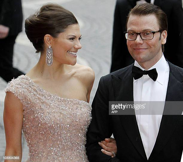 Sweden's Crown Princess Victoria and Daniel Westling arrive for a gala performance at the Stockholm Concert Hall in Stockholm on June 18 at the start...