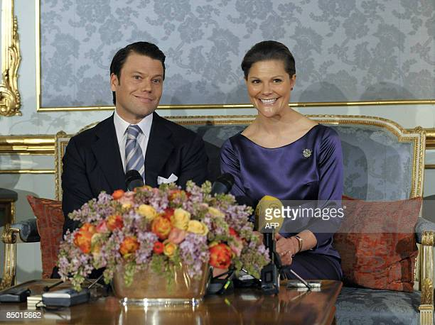 Sweden's Crown Princess Victoria and her fiance Daniel Westling meet the press at the Royal Palace in Stockholm on February 24 announcing their...