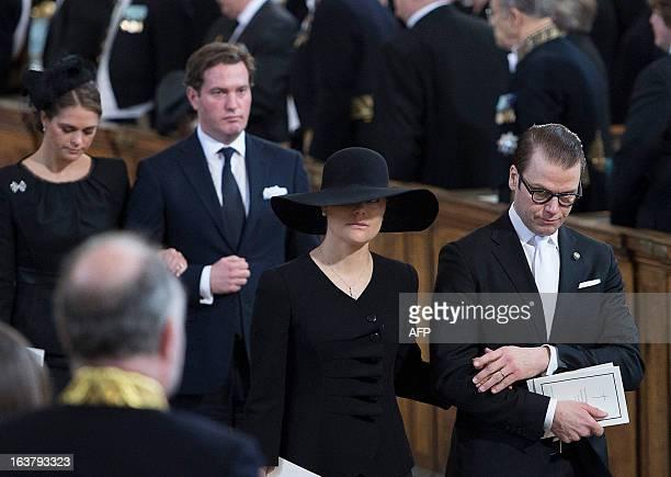Sweden's Crown Princess Victoria and husband Prince Daniel , Swedish Princess Madeleine and her American fiancée Chris O'Neill leave the Royal Chapel...