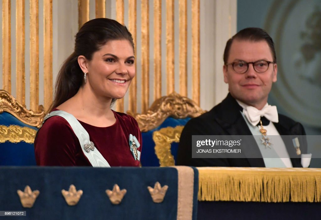 Sweden's Crown Princess Victoria and Prince Daniel attend the Swedish Academy's annual meeting on December 20, 2017 at the Old Stock Exchange building in Stockholm. / AFP PHOTO / TT News Agency / Jonas EKSTROMER / Sweden OUT