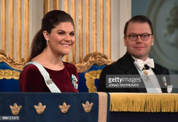 Sweden's Crown Princess Victoria and Prince Daniel attend the Swedish Academy's annual meeting on December 20 2017 at the Old Stock Exchange building...