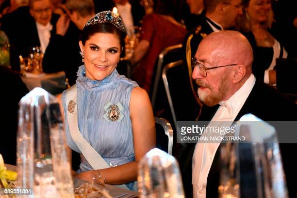 Sweden's Crown Princess Victoria and US physicist and Nobel Prize in Physics 2017 laureate Kip S Thorne attend the 2017 Nobel Banquet for the...