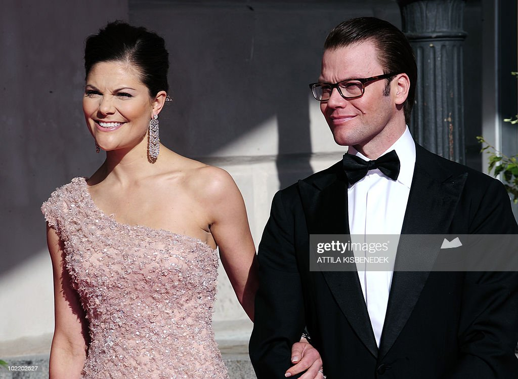 Sweden's Crown Princess Victoria (L) arrives with her fiance Daniel Westling at the Eric Ericcson Hall of Skeppsholen in Stockholm on June 18, 2010 prior to a gala dinner presesented by the local government. Less than half Sweden's population now supports the monarchy, and a quarter thinks it a bad thing, a poll showed today amid preparations for Crown Princess Victoria's nuptials this weekend.