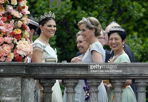 Sweden's Crown Princess Victoria Britain's Sophie Countess of Wessex and Hisako Takamado of Japan are pictured after the wedding ceremony of Sweden's...