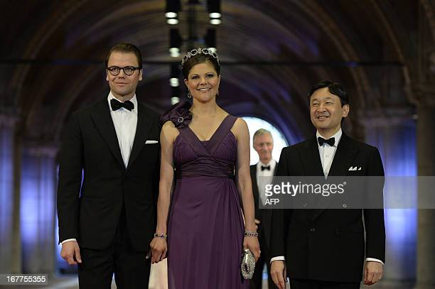 Sweden's Crown Princess Victoria her husband Prince Daniel and Japan's Crown Prince Nahurito arrive on April 29 2013 to attend a dinner at the...