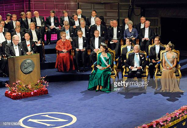 Sweden's Crown Princess Victoria Prince Daniel King Carl XVI Gustaf Prince Carl Philip and Queen Silvia listen to Magnus Storch Chairman of the Nobel...