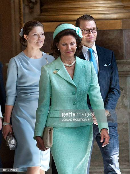 Sweden's Crown Princess Victoria Queen Silvia of Sweden and Mr Daniel Westling arrive at the reading of the banns of marriage between Crown Princess...