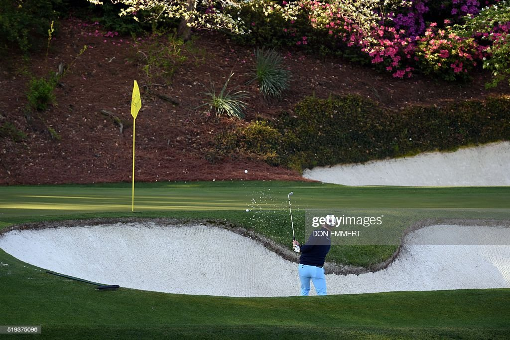 Sweden's David Lingmerth hits out a bunker during a practice round prior to the start of the 80th Masters of Tournament at the Augusta National Golf Club on April 6, 2016, in Augusta, Georgia. / AFP / DON