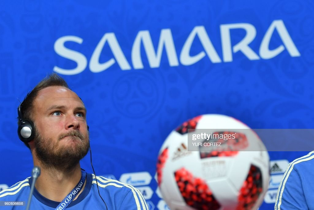 Sweden's defender Andreas Granqvist attends a press conference on the eve of the Russia 2018 FIFA World Cup quarter final football match between Sweden and England at the Samara Arena on July 6, 2018 in Samara.