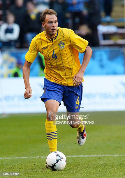 Sweden's defender Andreas Granqvist dribbles during the friendly football match between Sweden and Serbia at the Rasunda Stadium in Stockholm on June...