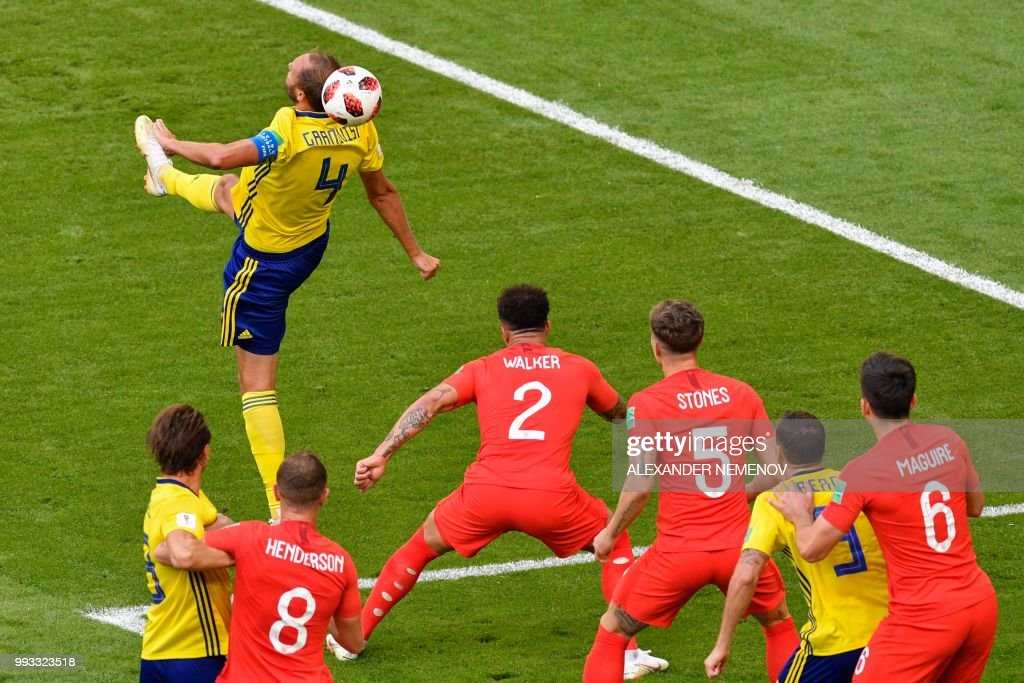 TOPSHOT - Sweden's defender Andreas Granqvist (L) heads the ball during the Russia 2018 World Cup quarter-final football match between Sweden and England at the Samara Arena in Samara on July 7, 2018. (Photo by Alexander NEMENOV / AFP) / RESTRICTED