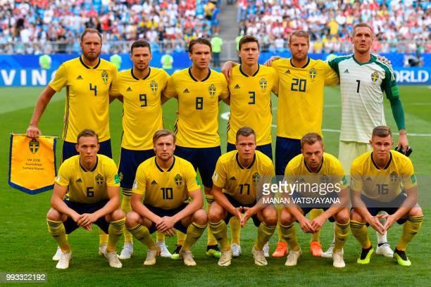 Sweden's defender Andreas Granqvist Sweden's forward Marcus Berg Sweden's midfielder Albin Ekdal Sweden's defender Victor Lindelof Sweden's forward...
