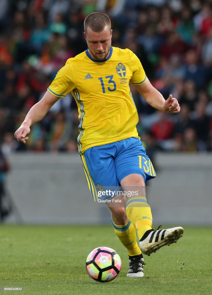Sweden's defender Jakob Johansson in action during the International Friendly match between Portugal and Sweden at Estadio dos Barreiros on March 28, 2017 in Funchal (Madeira), Portugal.