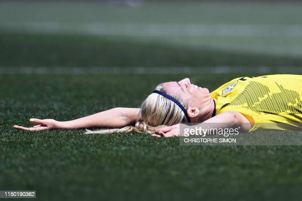 TOPSHOT Sweden's defender Linda Sembrant celebrates after scoring a goal during the France 2019 Women's World Cup Group F football match between...