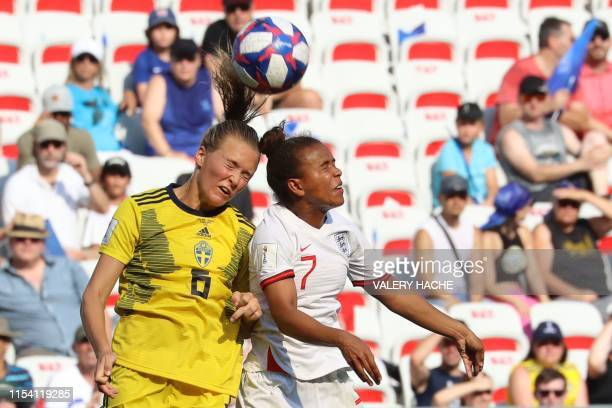 TOPSHOT Sweden's defender Magdalena Eriksson vies with England's forward Nikita Parris during the France 2019 Women's World Cup third place final...