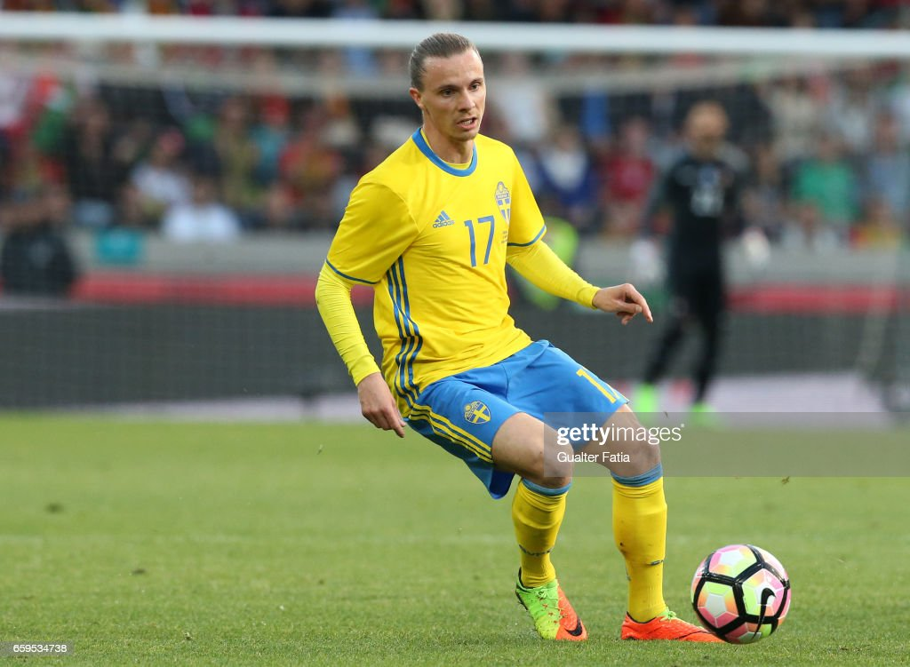 Sweden's defender Niklas Hult in action during the International Friendly match between Portugal and Sweden at Estadio dos Barreiros on March 28, 2017 in Funchal (Madeira), Portugal.