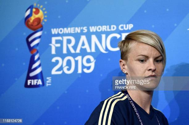 Sweden's defender Nilla Fischer arrives for a press conference at the Groupama stadium in Lyon on July 1 during the France 2019 football Women's...
