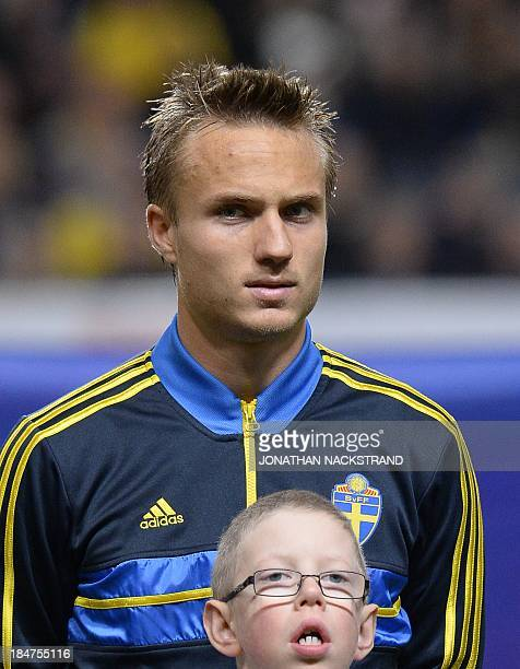 Sweden's defender Pierre Bengtsson looks on prior to the FIFA 2014 World Cup group C qualifying football match Sweden vs Germany on October 15 2013...