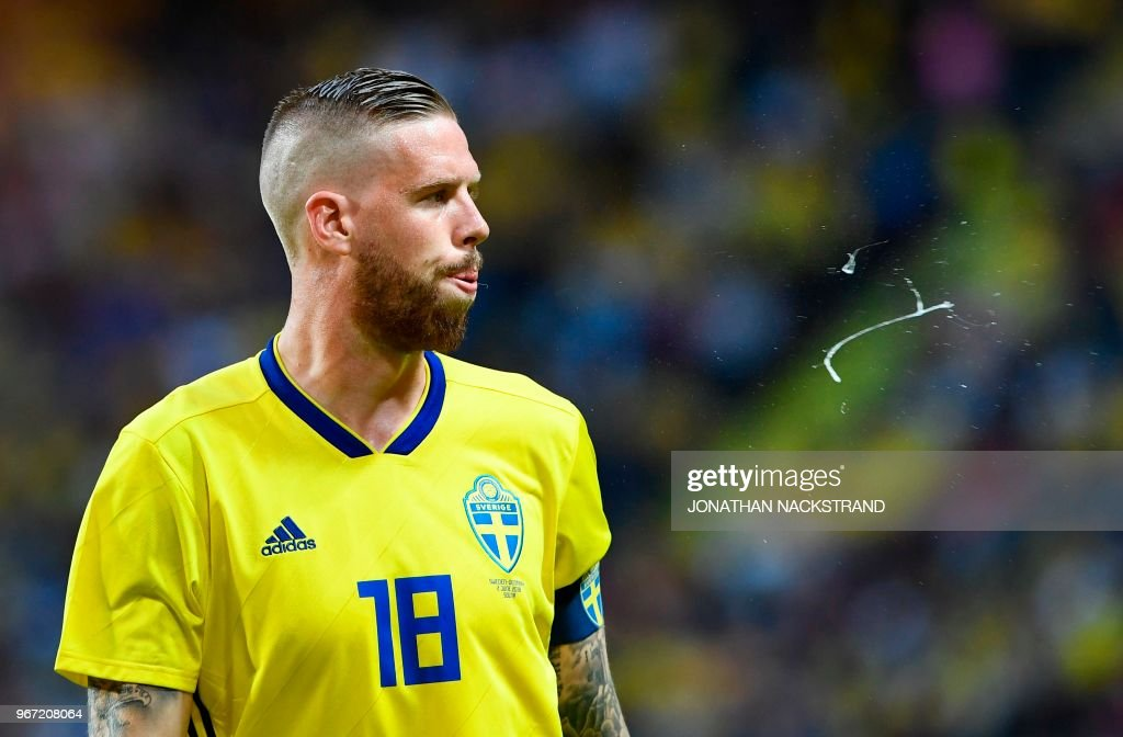 Sweden's defender Pontus Jansson reacts during the international friendly footbal match Sweden v Denmark in Solna, Sweden on June 2, 2018.