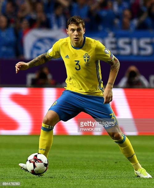 Sweden's defender Victor Lindelöf controls the ball during the FIFA World Cup 2018 qualifying football match Sweden vs France on June 9 2017 at the...