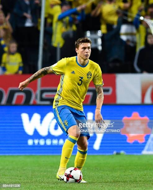 Sweden's defender Victor Lindelof controls the ball during the FIFA World Cup 2018 qualification football match between Sweden and France in Solna on...