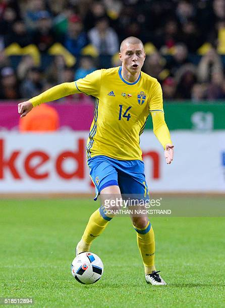 Swedens defender Victor Nilsson Lindelöf controls the ball during a friendly football match between Sweden and Czech Republic at the Friends Arena in...