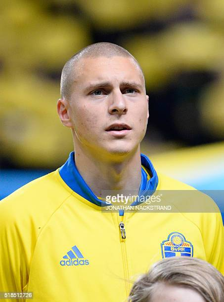 Swedens defender Victor Nilsson Lindelöf is pictured ahead of a friendly football match between Sweden and Czech Republic at the Friends Arena in...