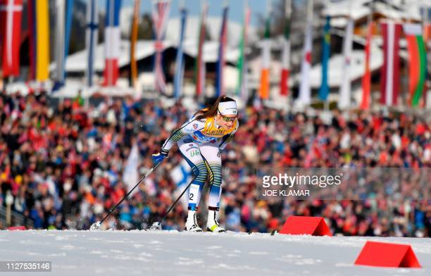 Sweden's Ebba Andersson competes in the Ladies' 10km crosscountry event at the FIS Nordic World Ski Championships on February 26 2019 in Seefeld...