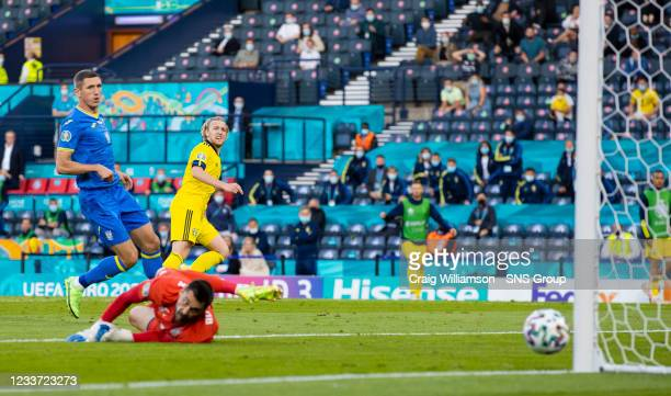 Sweden's Emil Forsberg hits the post with a shot during the UEFA Euro 2020 round of 16 match between Sweden and Ukraine at Hampden Park, on June 29...