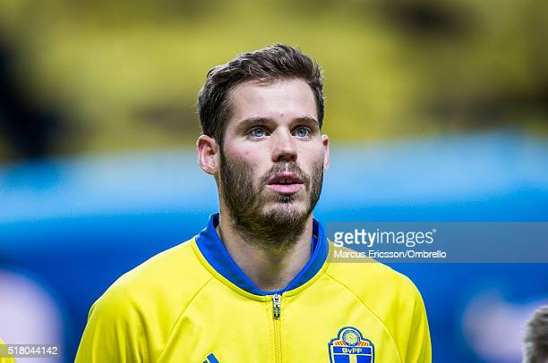 Swedens Emil Salomonsson during the international friendly between Sweden and Czech Republic at Friends Arena on March 29 2016 in Solna Sweden