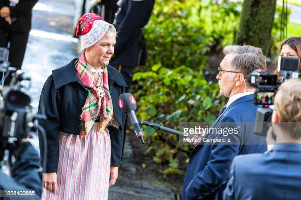 Sweden's Finance Minister Magdalena Andersson attends the opening of the Swedish Parliament for the fall session at the Riksdag Parliament building...