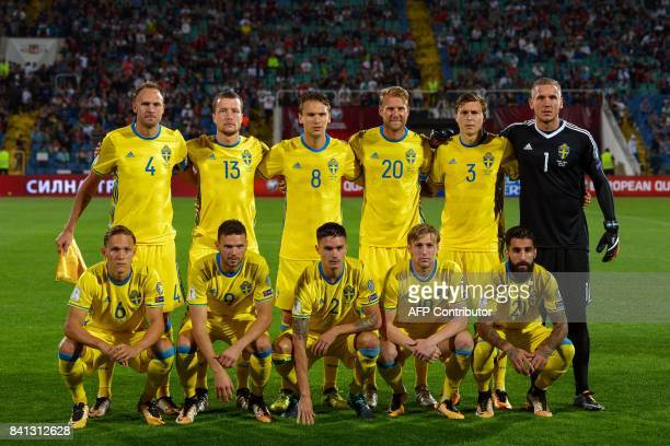 Sweden's football team players pose for a family photo prior to their FIFA 2018 World Cup football qualifier match against Bulgaria in Sofia on...