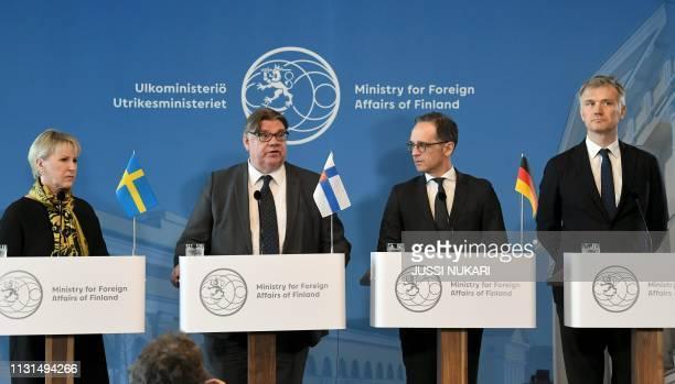 Sweden's Foreign Minister Margot Wallstroem Finland's Foreign Minister Timo Soini Germany's Foreign Minister Heiko Maas and Denmark's State Secretary...